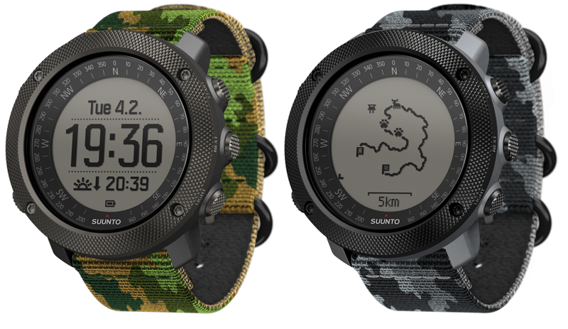 From L-R: The Suunto Traverse Alpha Woodland, and Traverse Alpha Concrete.