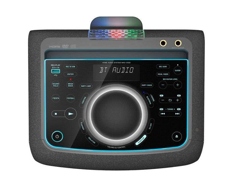 The illuminated touch panel of the MHC-V50D.