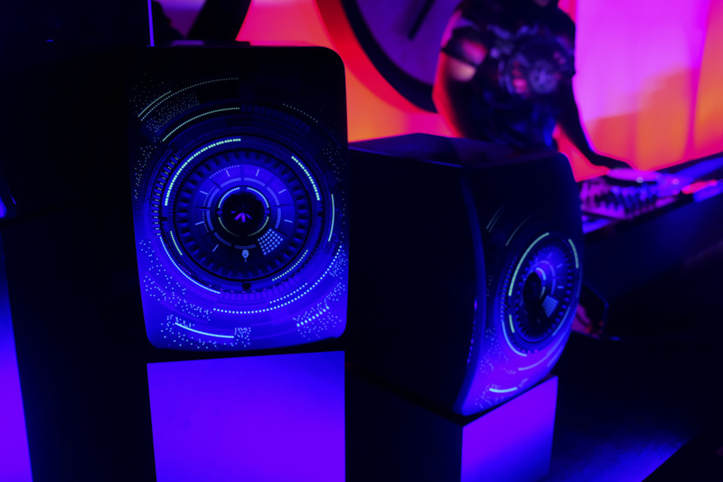 The speakers glow in the dark.