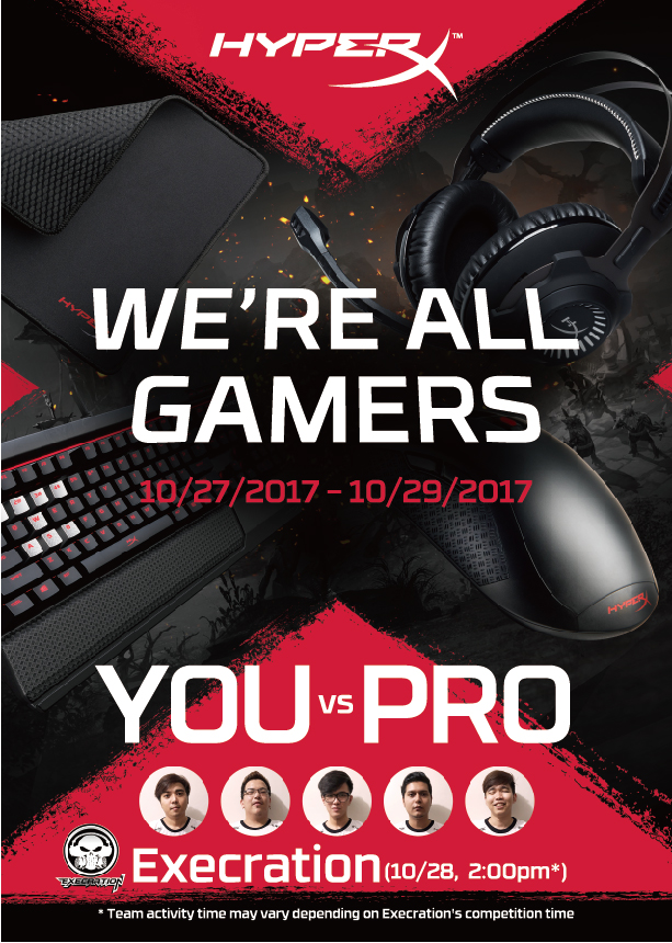 hyperx, kingston, esgs 2017, smx, esports, execration, dota 2, pulsefire fps, cloud revolver, alloy elite, mouse, headset, keyboard, gaming, trinhil