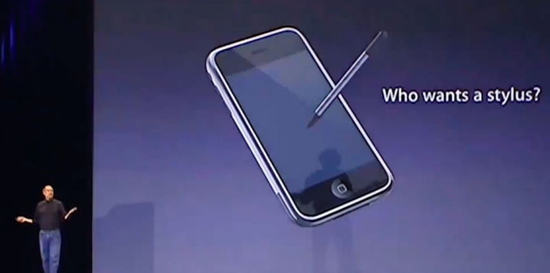 "Steve Jobs claimed during the launch of the iPhone in 2007 that ""nobody wants a stylus""."