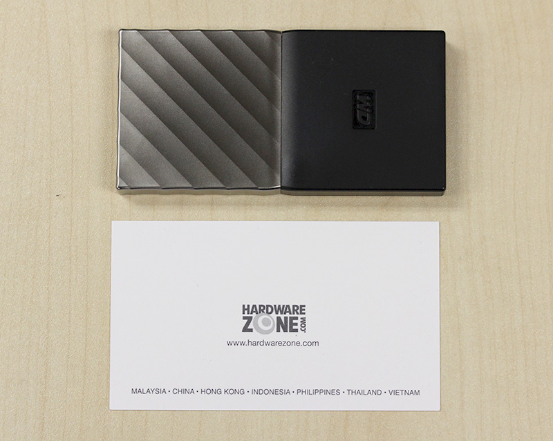 The WD My Passport SSD is about the size of a typical name card.