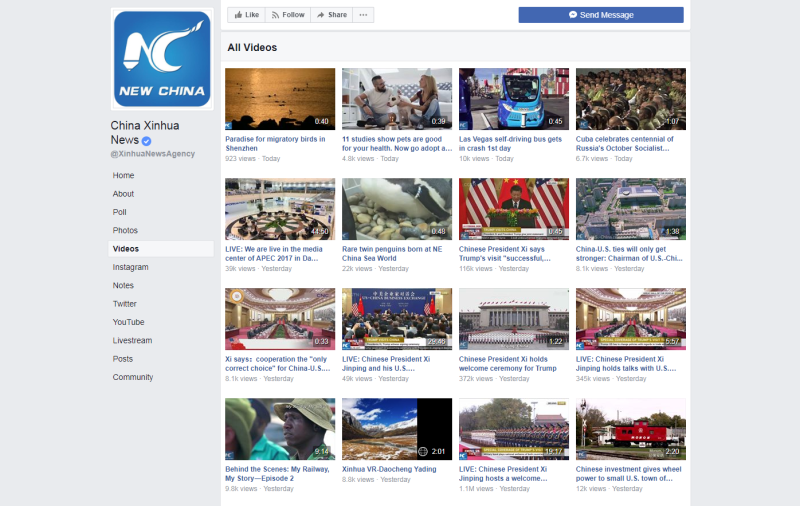 A quick look shows that Xinhua does indeed have a lot of videos, and from the top a vast majority of them are indeed for English language viewers. <br> Image source: Xinhua / Facebook.