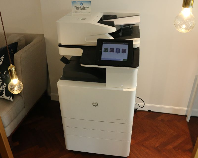 The HP LaserJet Managed MFP E82560dn printer.