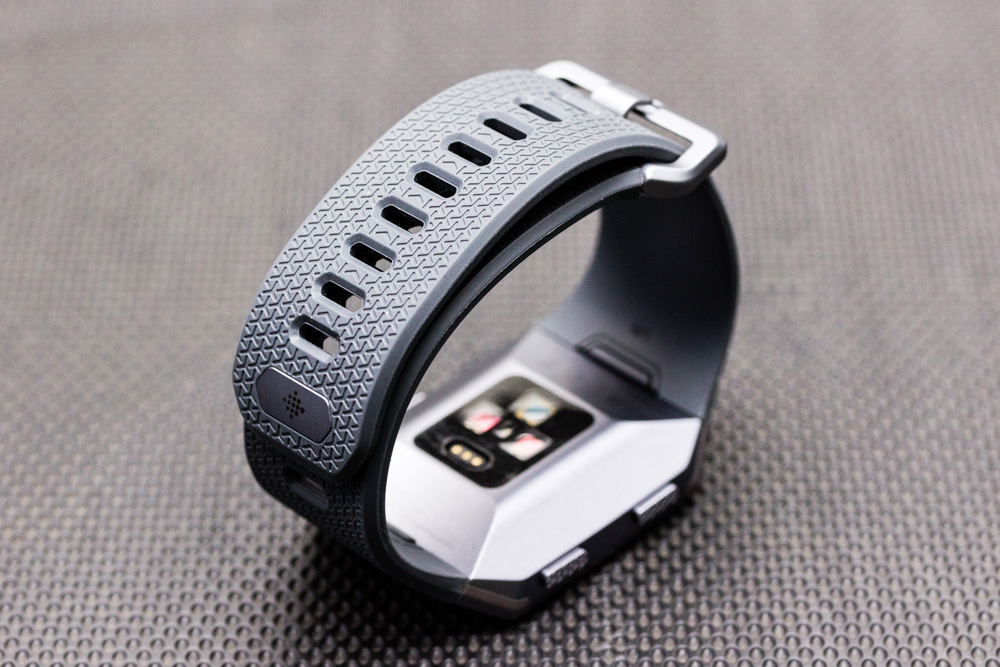 The strap that comes with the Ionic is fine, the strap holes provide a basic level of breathability.