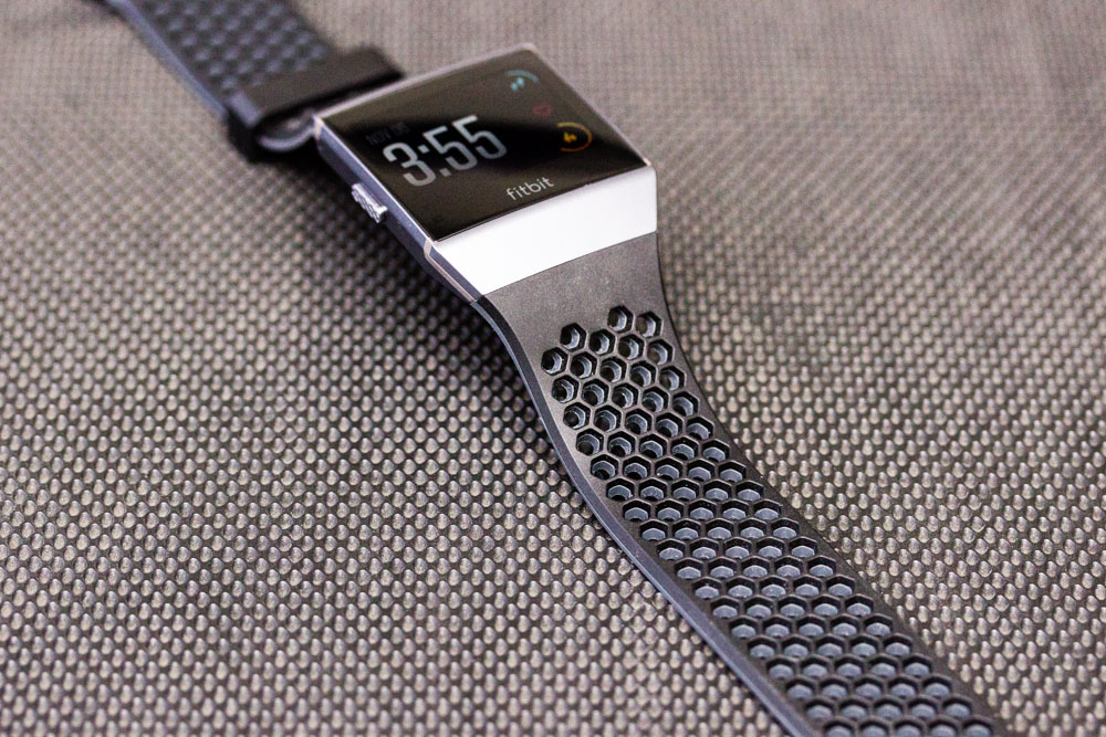 The optional Sports band is the most breathable tracker band I've seen yet; with lots of perforations for airflow.