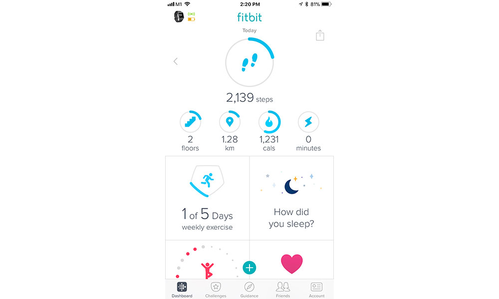The Fitbit app makes it easy to see your key stats on a page, something even the Garmin Connect app is only starting to do with its beta My Day feature.