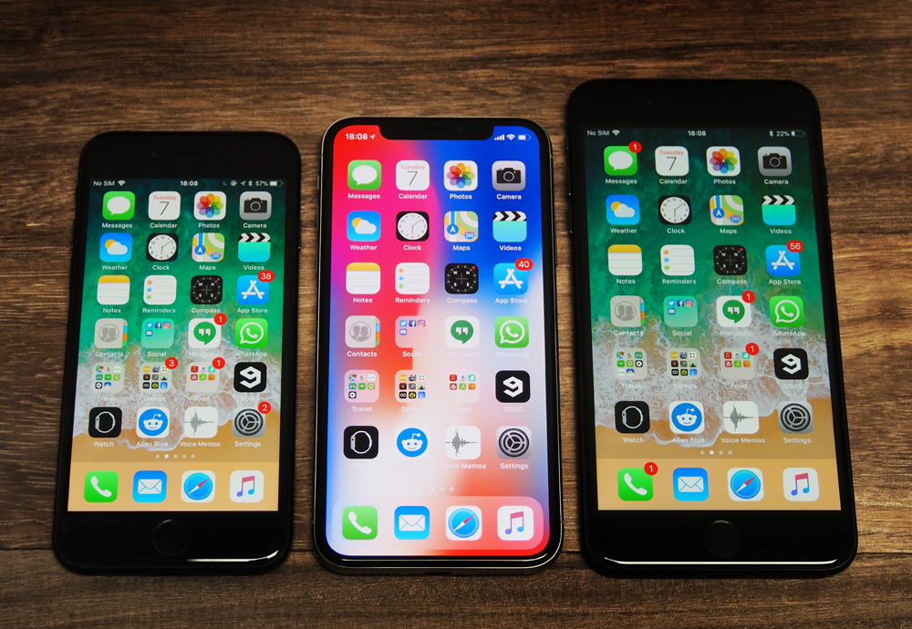 From L-R: iPhone 8, iPhone X, and iPhone 8 Plus.