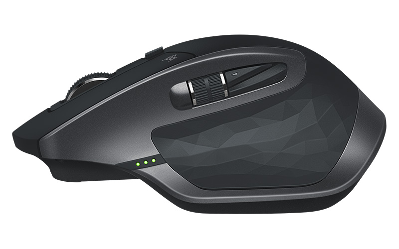 The old MX Master mice have physical battery level indicators. Note the three tiny LED lights next to the main thumb button. This is the MX Master 2S.