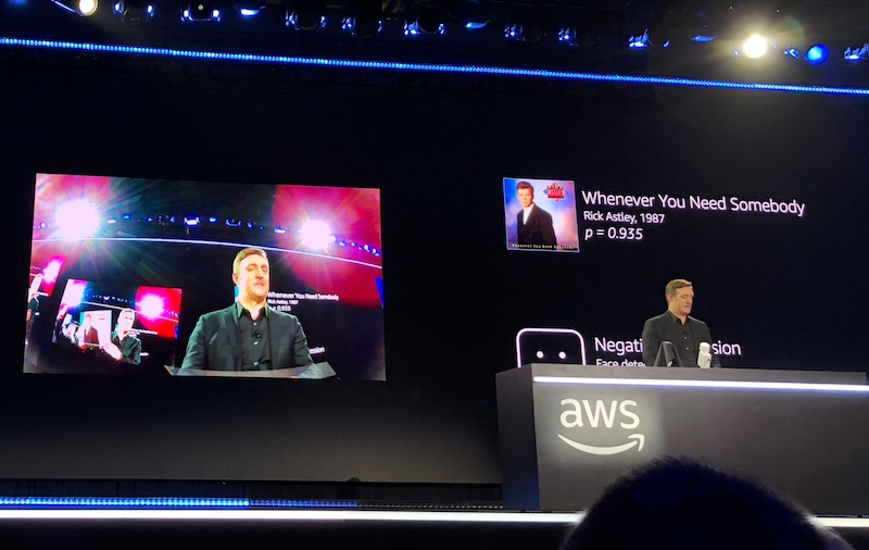Dr. Matt Wood, General Manager, Artificial Intelligence, AWS demonstrated a music recommendation engine, where the DeepLens camera detects album covers and facial expressions to suggest recommendations based on the user's positive or negative reaction.