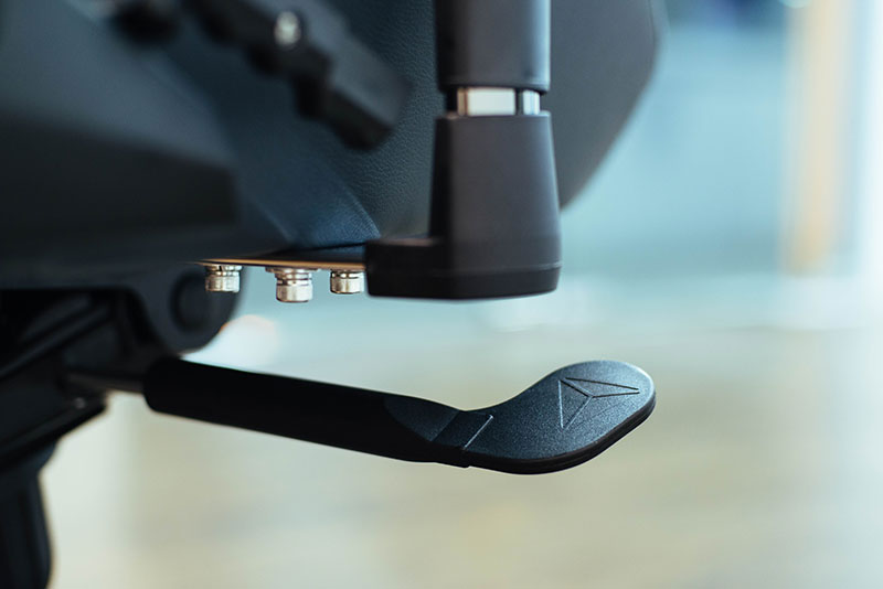 The Omega has a second lever on the left that you can use to lock the chair at your desired tilt angle.