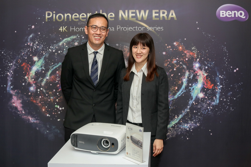 From L-R: Brian Lee, General Manager of BenQ Malaysia; and Sasha Huang, BenQ Asia Pacific Business Line Manager with the BenQ W1700 4K HDR projector.