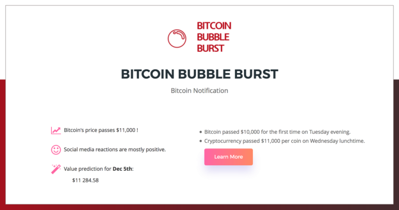 An example of the notification Bitcoin Bubble Burst will send to you. <br> Image source: TechCrunch.