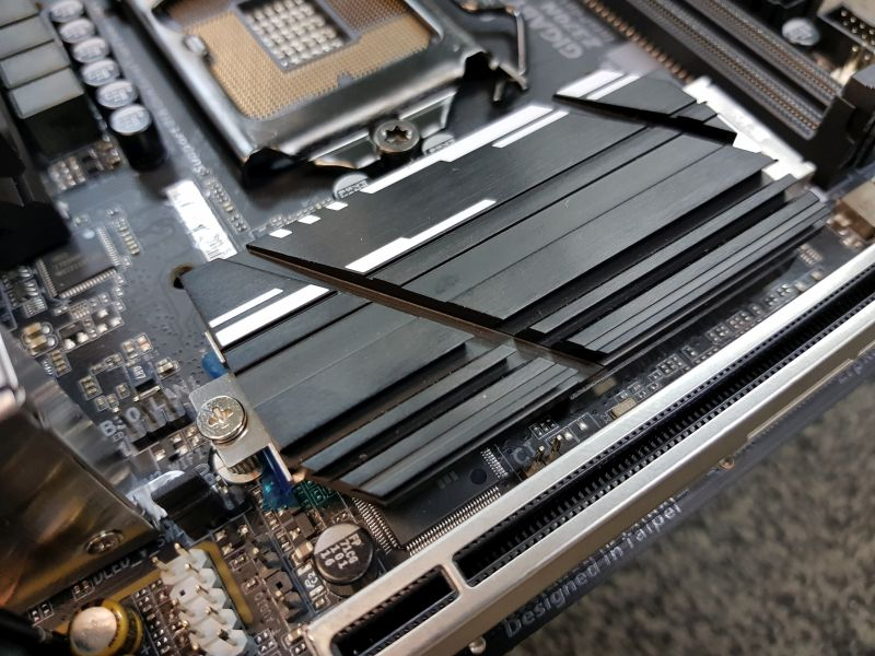 The Z370N WiFi comes with a Dual PCIe NVMe Gen3 x4 M.2 SSD setup. The first M.2 port can be seen here, hidden by this rather wicked looking thermal guard.