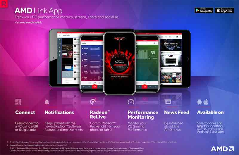 The AMD Link app lets you monitor your GPU and start a stream using just your smartphone. (Image Source: AMD)