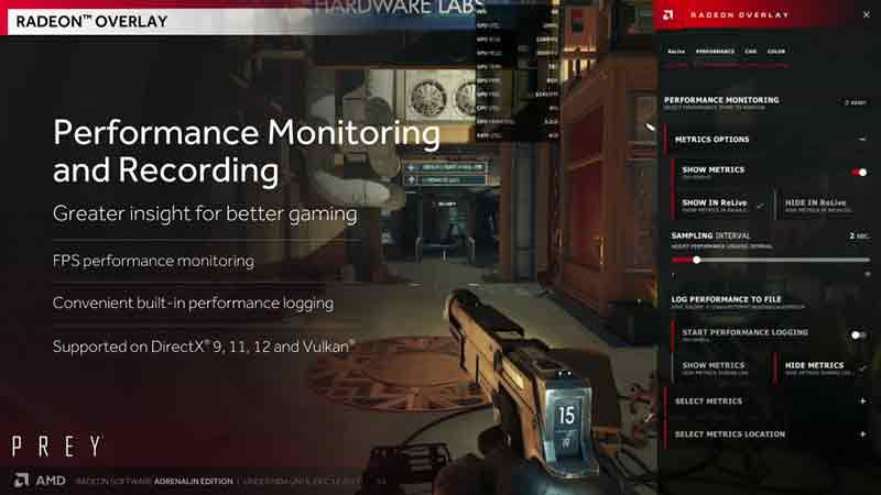 Radeon Overlay appears on the right of the screen when you enable it. (Image Source: AMD)