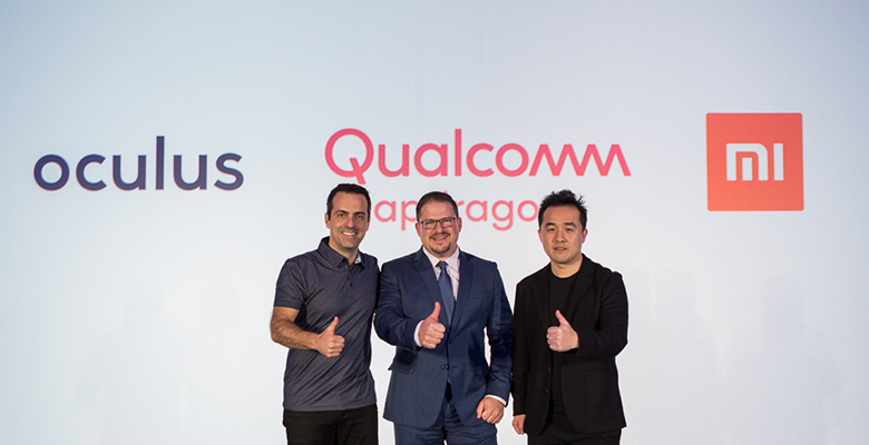 Facebook VP of VR Hugo Barra, Qualcomm Incorporated President Cristiano Amon, and Xiaomi VP Thomas Tang at CES 2018.