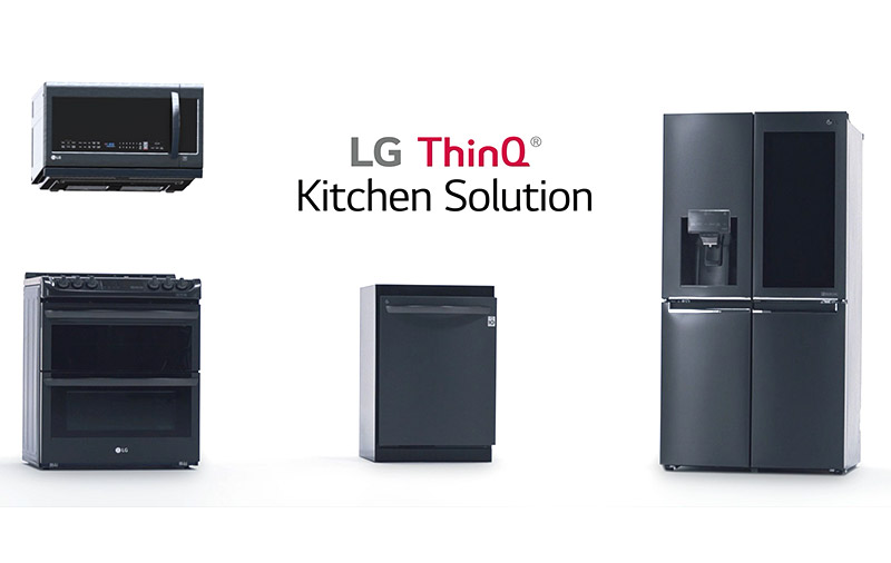LG's new ThinQ kitchen appliances include the InstaView fridge, EasyClean oven, and QuadWash dishwasher. (Image source: LG.)