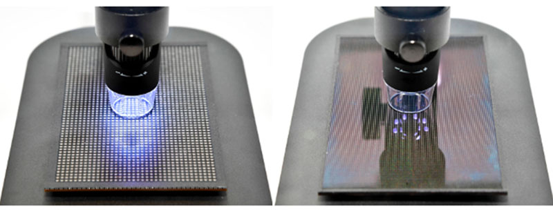 Notice how the pixels on a microLED panel (right) are so much smaller than the ones on a conventional LED panel (left). (Image source: Samsung.)