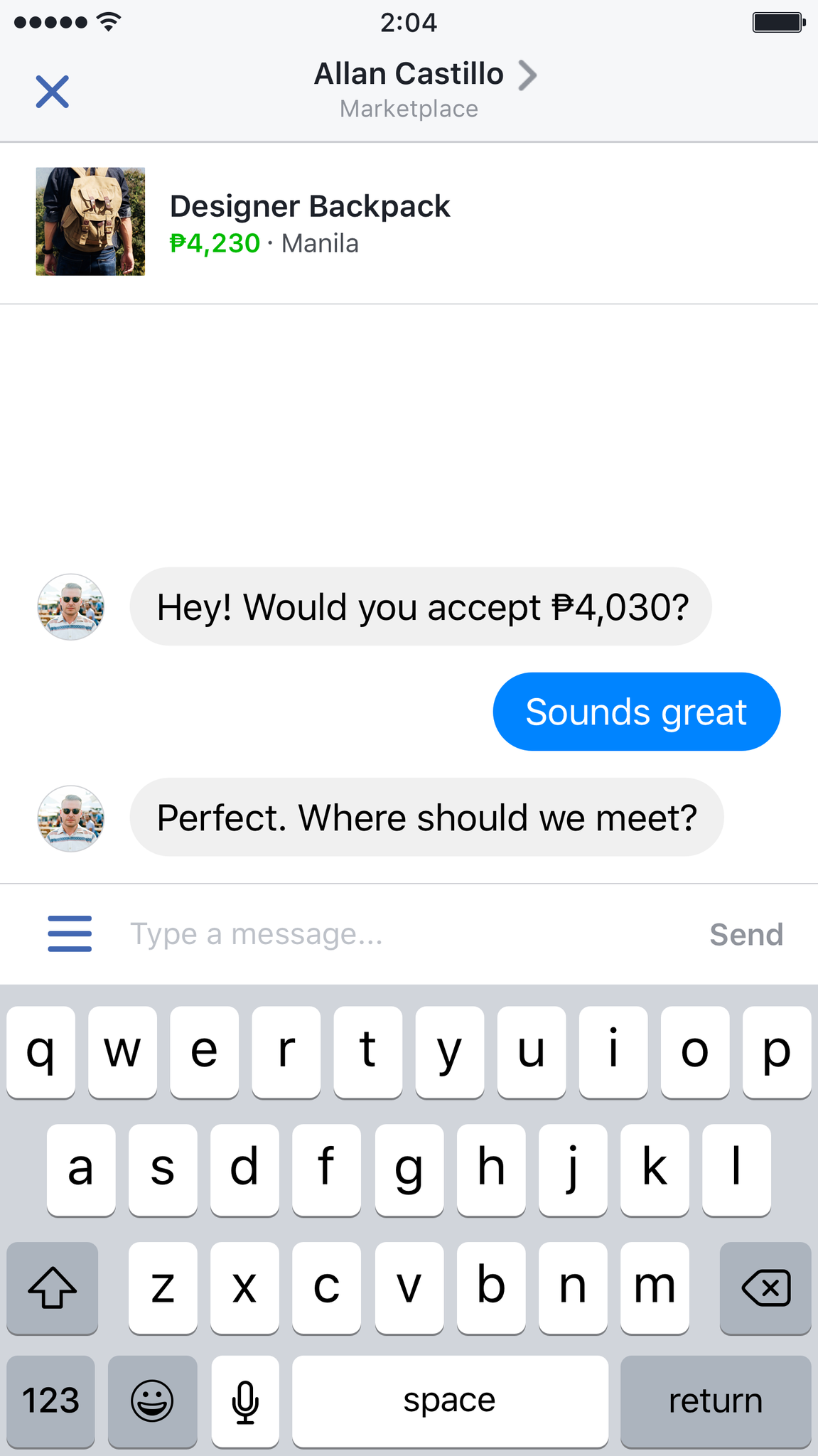 Make deals easily with the seller through Marketplace. (Image from Facebook)