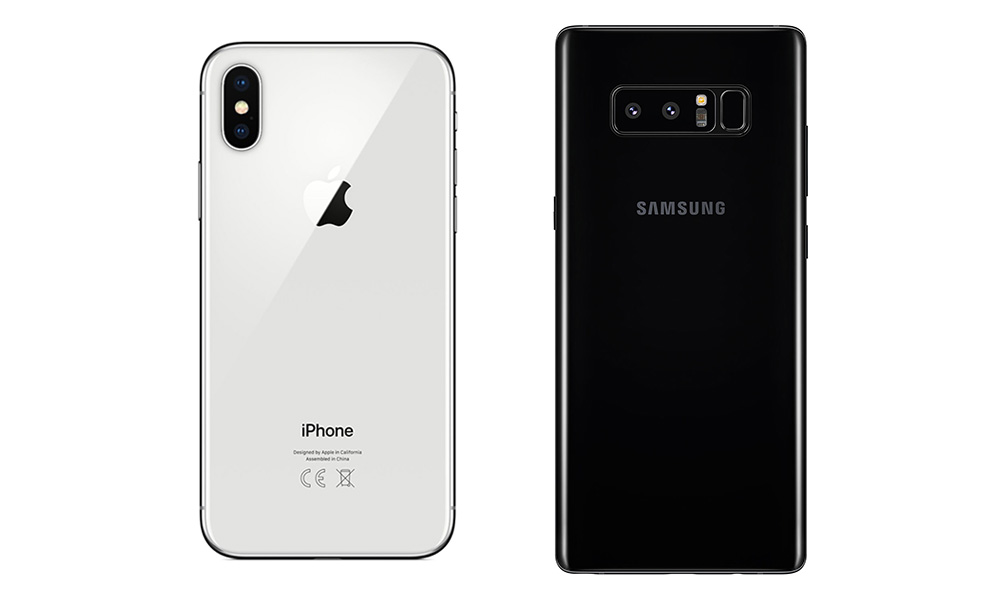 Apple iPhone X (left), Samsung Note8 (right)