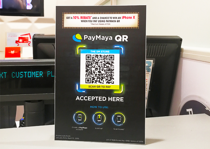 A sample PayMaya QR code sign displayed at The SM Store counters nationwide.