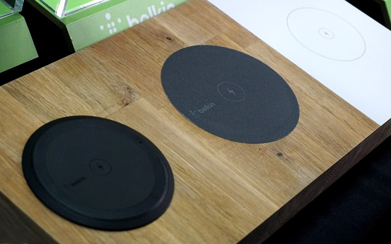 Here's another look at the Belkin Boost Up Wireless Charging System with the different mounting options - top-mount, flush-mounted and sub--surface mounting options lined up left to right.