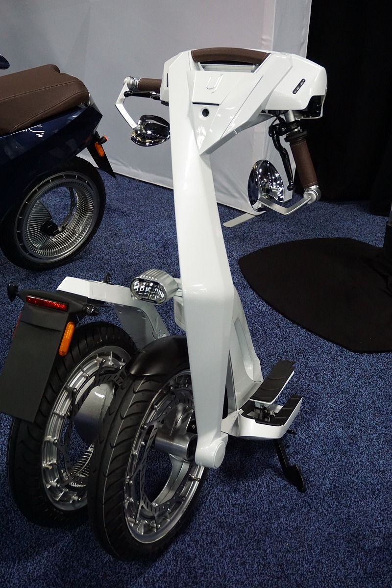 The folded Ujet electric scooter without its battery pack.