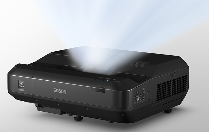 Epson says the EH-LS100 is the world's first ultra-short-throw 3LCD laser projector for home use. (Image source: Epson.)
