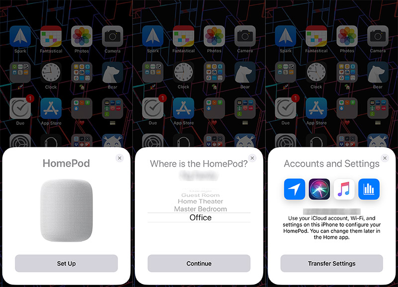 Here's three of the eight screens you need to tap through when setting up the HomePod for the first time.