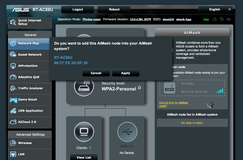 After updating to the latest firmware, you will see the AiMesh option at the right.
