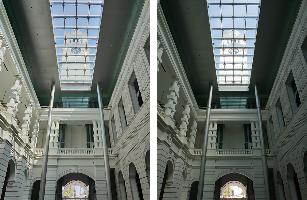 HDR (left) versus non-HDR (right). HDR images capture a wider dynamic range than before. Look at how bright details at the bottom of the frame are retained.