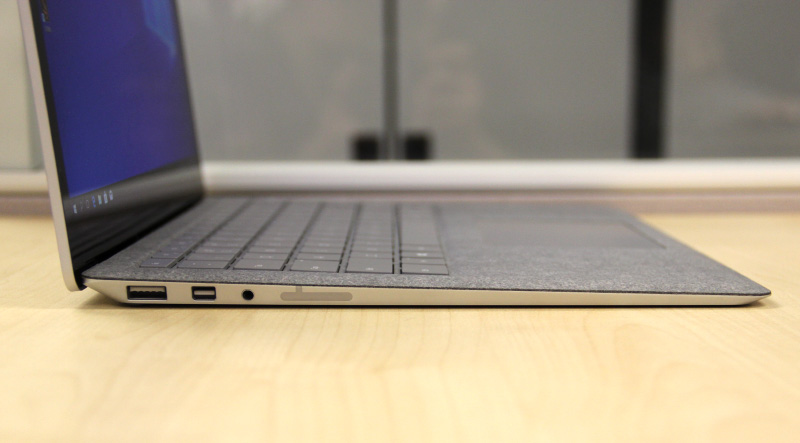 The Surface Laptop is nearly 15mm thick at its thickest point. However, it tapers at one end so it isn't as bulky as you might think it to be.
