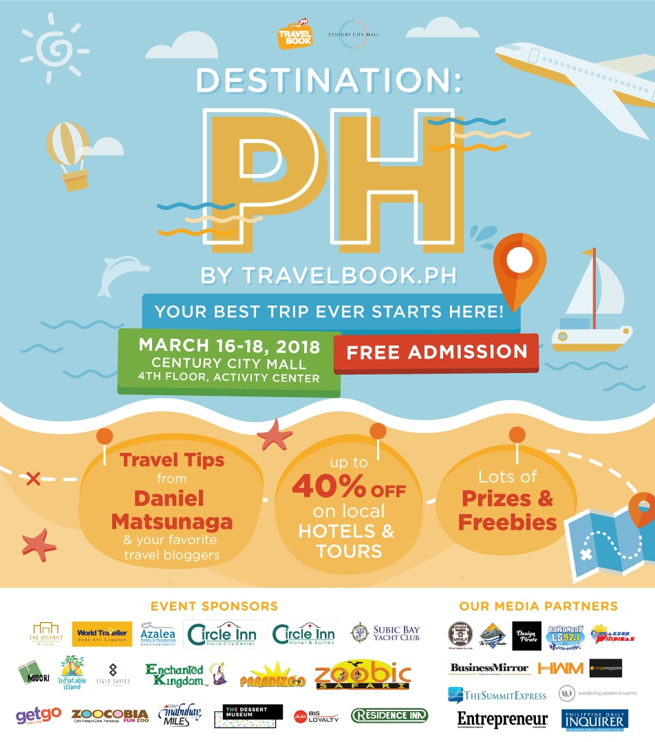 travelbook.ph, destination:ph, century city mall, circle inn, hotel, azalea, resorts, boracay, baguio, the district, abs-cbn, travel now, hwm, philippines, it's showtime, daniel matsunaga, midori, subic, casino, century properties, enchanted kingdom, zoomanity, airasia, getgo, mabuhay miles, travel, flights