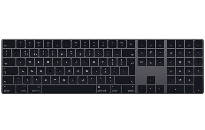 The same Magic Keyboard, now in a space gray finish. (Image source: Apple.)