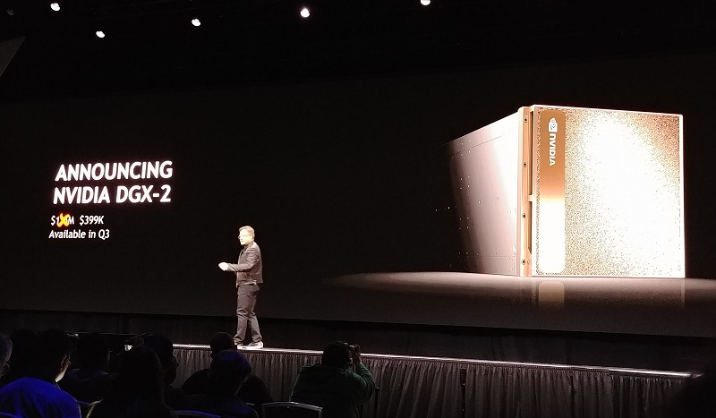 NVIDIA's CEO felt that a system of its class should likely command a US$1.5 million price tag, but he's feeling generous enough to price it at US$399,000. It's still a big sum, and it's certainly more expensive than two DGX-1 machines, but it's a justified premium for its current positioning and the newer Tesla V100 GPUs with double the graphics memory.