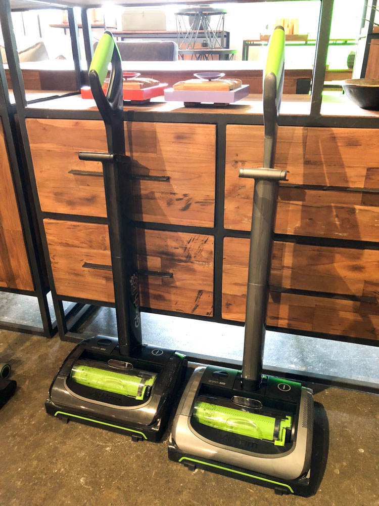 The Gtech AirRam is a cordless floor vacuum cleaner that stands upright.