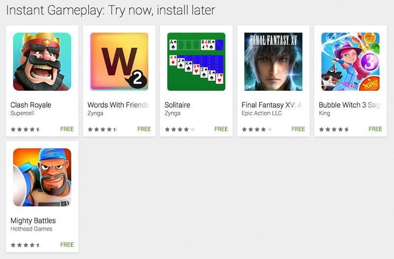 The titles that support Google Play Instant at the moment.