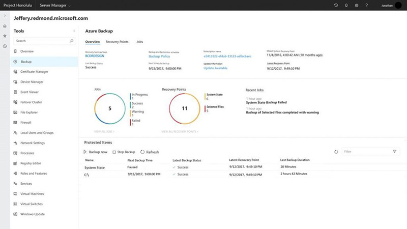 Project Honolulu's management dashboard for Azure Backup in Windows Server 2019 Preview. (Image source: Microsoft.)