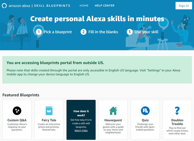 With alexa blueprints you can truly make amazon alexa your own amazons alexa blueprints lets you easily create your own alexa skills or responses malvernweather Choice Image