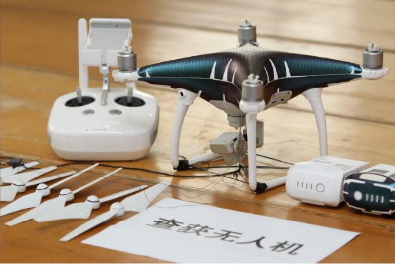 This drone was used to smuggle iPhones from Hong Kong to Shenzhen. <br> Image source: Liu Youzhi/Southern Metropolis Daily