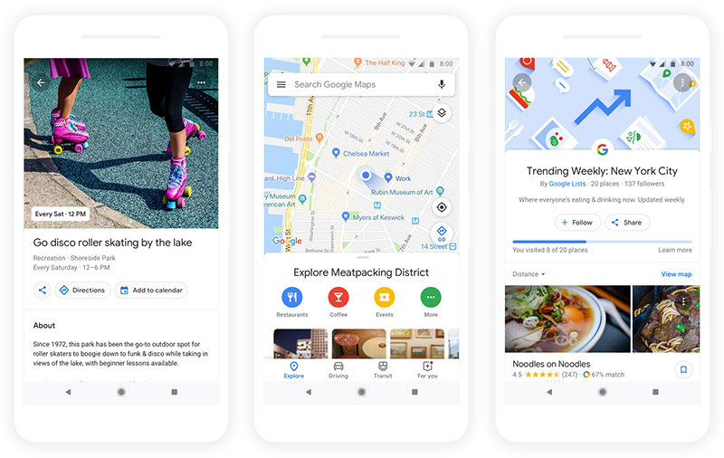 Events and activities, options around you, and top lists in the updated Google Maps. (Image source: Google.)