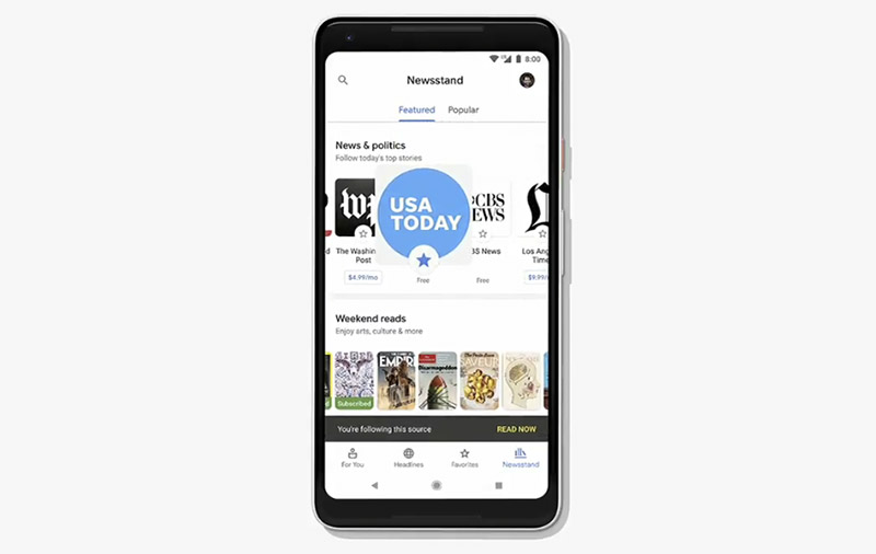 The Newsstand section lets you discover new publishers and follow them easily. Subscription can also be done here.