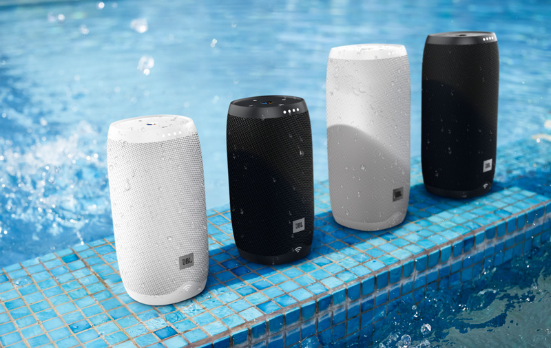 The smaller Link 10 (left two) and Link 20 (right two) speakers are IPX7 waterproof.
