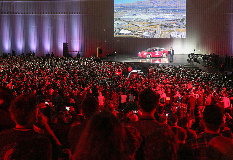 Elon Musk at the Model 3 delivery event. Image source: Tesla.
