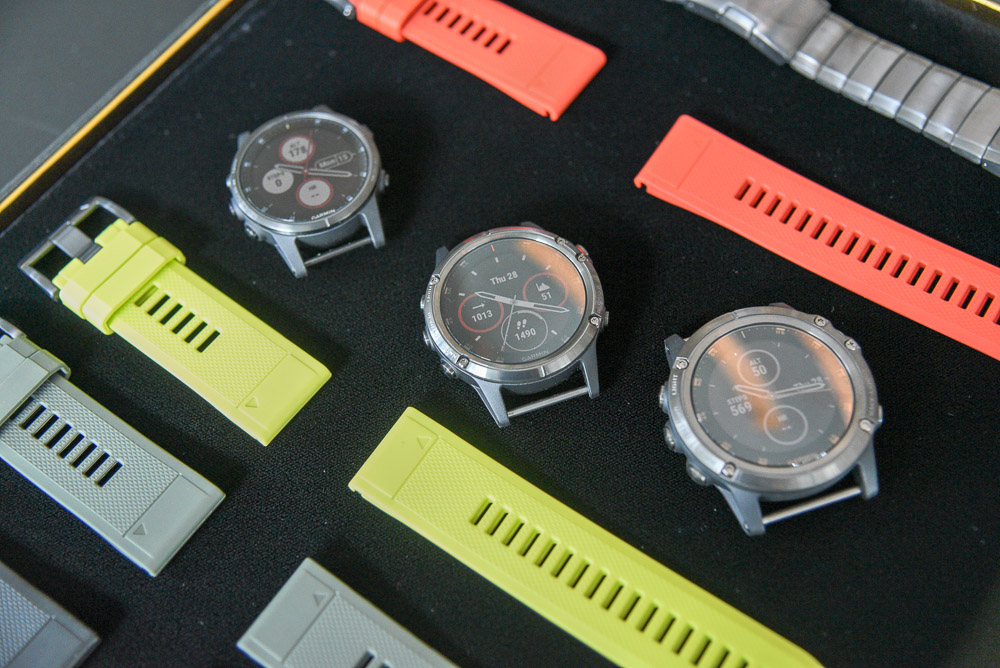 The Fenix 5 Plus come in three sizes, the smallest 5S Plus (top, left), the 5 Plus (middle), and the largest 5X Plus (bottom, right).