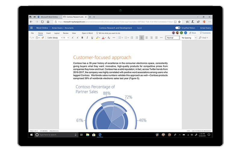 The first app to get this simplified ribbon experience is Word Online. (Image source: Microsoft.)