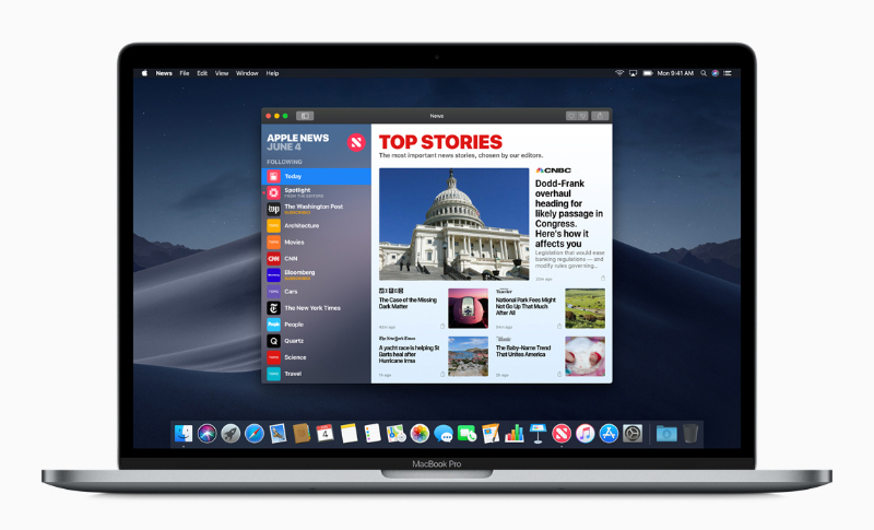 The Apple News app on macOS Mojave. (Image source: Apple)