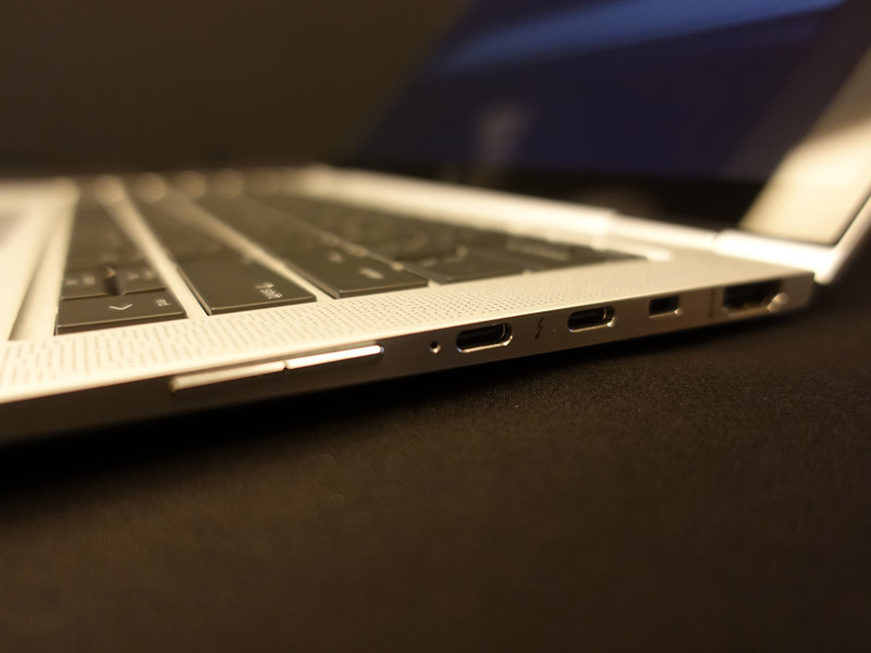 The EliteBook x360 will support HDMI-Out, which means one less dongle you'll have to bring (unlike many other ultraportable notebook owners). A pair of USB-C ports are seen on the right side as well.