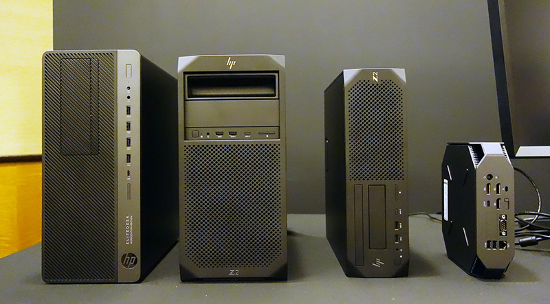 (from left: HP EliteDesk 800, HP Z2 G4, HP Z2 SFF, and HP Z2 MiniG4)